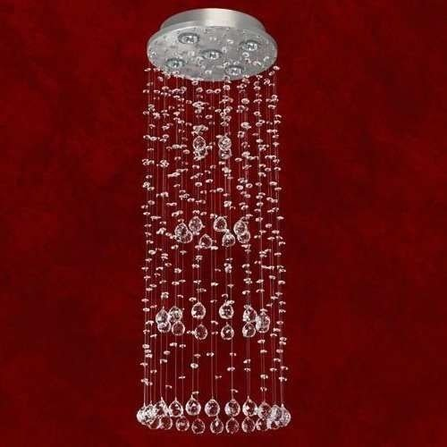 Lustre Redondo Cone Cromado Cristal K9 Translúcido 5 Lamp. Ø30x85 Triest Mr Iluminação Gu10 2303-5-ls Saguão e Quartos