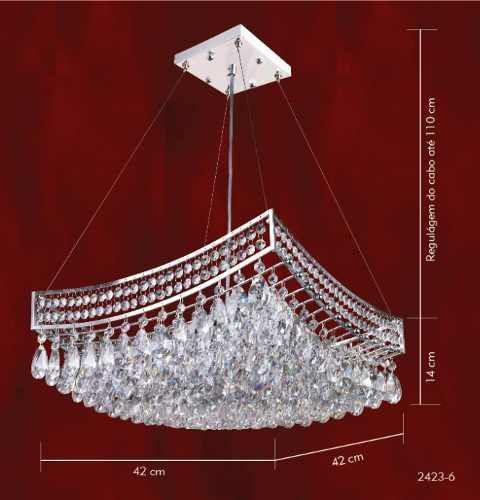 Pendente Berço Cromado Cristal K9 Asfour Translúcido 6 Lamp. 42x42 Mr Iluminação G9 2423-6-pd Quartos e Hall