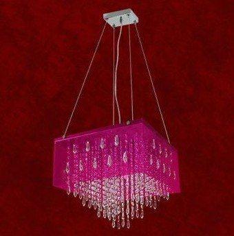 Pendente Box Acrílico Colorido Rosa Cristal K9 Asfour 10 Lamp. 40x40 Veneza Mr Iluminação G9 2261-p-pd Salas e Quartos