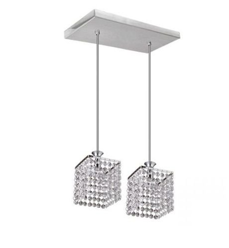 Pendente Cromado Cubo Cristal K9 Asfour 2 Lamp. 21x21 Kira Mr Iluminação Led 2418-2p Cozinhas e Quartos