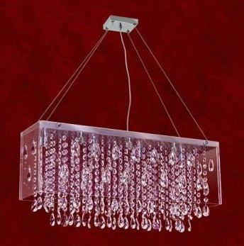 Pendente Inox Cromado Box Acrílico Cristal K9 7 Lamp. 60x20 Veneza Mr Iluminação G9 2257-a-pd Cozinhas e Saguão