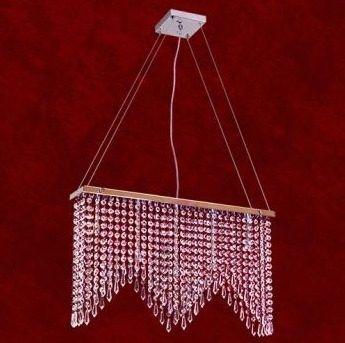 Pendente Mônaco Retangular Cromado Cristal K9 Translúcido 5 Lamp. 60x37 Clara Mr Iluminação G9 2215-5-pd Quartos e Hall