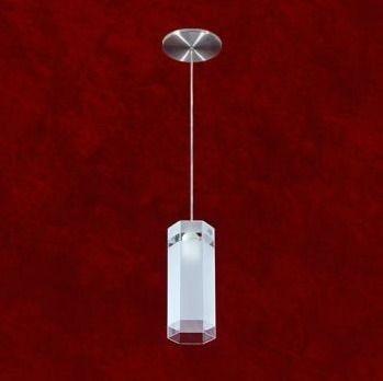 Pendente Redondo Vertical Aço Escovado Vidro Decorado 09x25 Mr Iluminação E-27 2268-1 Salas e Quartos