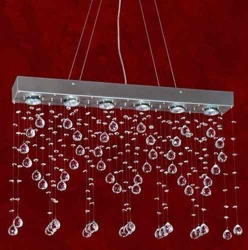 Pendente Retangular Régua Cromada Cristal K9 Translúcido 8 Lamp. 96x10 Trieste Mr Iluminação Gu10 2279-16-co-pd Saguão e Quartos