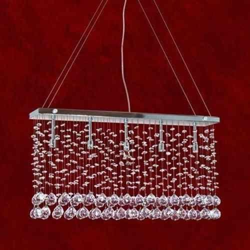 Pendente Retangular Reno Cromado Cristal K9 Translúcido 9 Lamp. 1mx10 Triest Mr Iluminação G9 2238-9-pd Cozinhas e Quartos