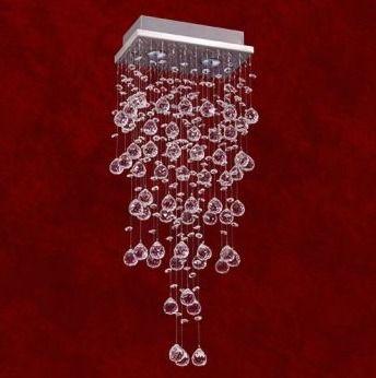Plafon Retangular Inox Cristal K9 Asfour Translúcido 11x23 Triest Mr Iluminação Gz10 2223-2 Salas e Quartos