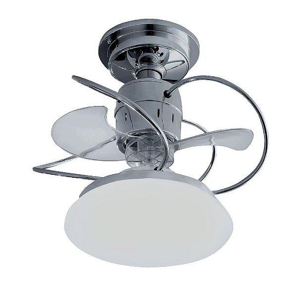 Ventilador Treviso Ind Lustre Atenas Cromado com Luminaria Controle Remoto Sala Quarto Cozinha Loja  TRV25