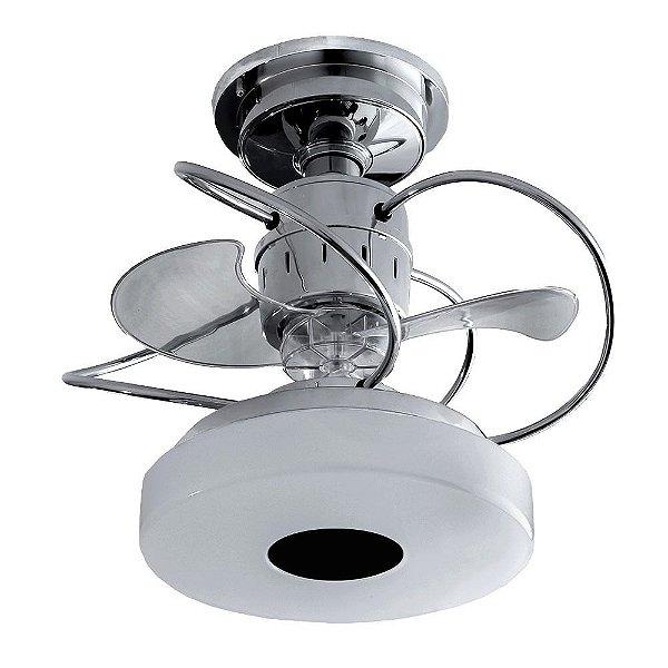 Ventilador Treviso Ind Lustre Mônaco Cromado com Luminaria Led Sala Quarto Cozinha Escritórios 18w  TRV7