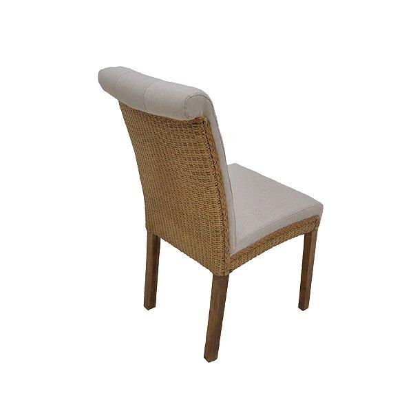 2x Cadeira Trendhouse Classica Madeira Natural Carvalho Encosto Assento Tecido Linhão Botões Valência