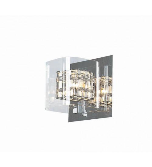 ARANDELA Newline Imports 173-CR CUBE Alumínio Cristal K9 Vidro 1XG9 16X18CM Paredes Muros Banheiros Salas Quartos