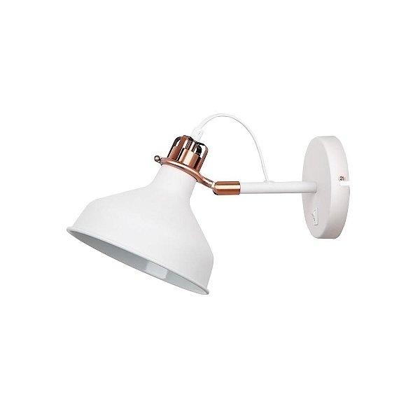 Arandela Quality Iluminação QAR1154-BR Articulada Cupula  Alumínio BRANCO 1XE27 40W 33,5X19X21CM Paredes Muros Banheiros Salas Quartos