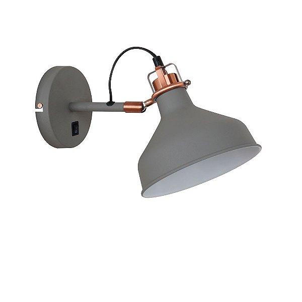 Arandela Quality Iluminação QAR1154-CZ Articulada Cupula  Alumínio CINZA 1XE27 40W 33,5X19X21CM Paredes Muros Banheiros Salas Quartos