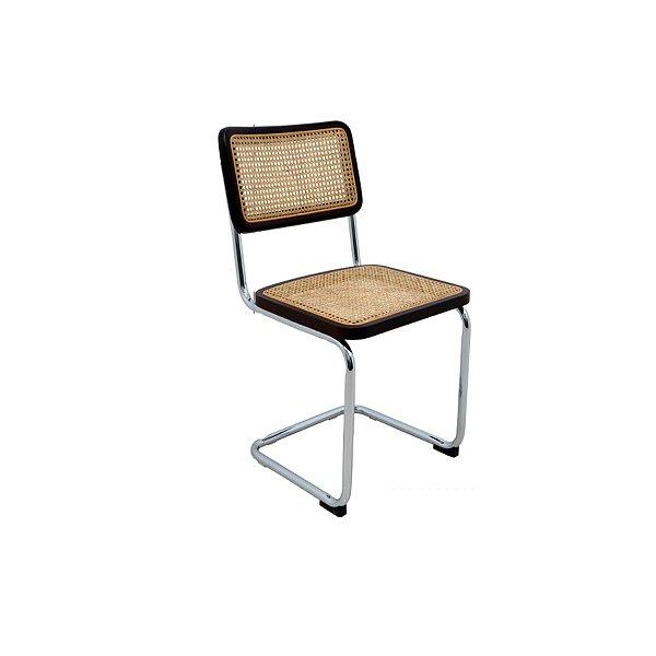 Cadeira Trendhouse Fixa Aço Madeira Natural Escura Sala Cozinha Encosto Assento Palha Natural BOSSA CESCA