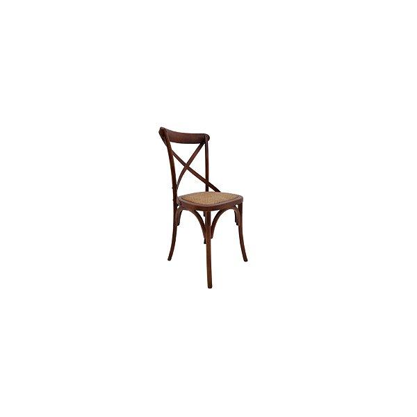 Cadeira Trendhouse Madeira Natural Bétula Cor Escuro Assento Palha Trançada
