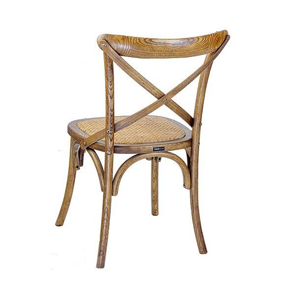 Cadeira Trendhouse Madeira Natural Carvalho Americano Cor Escuro Assento Palha Trançada
