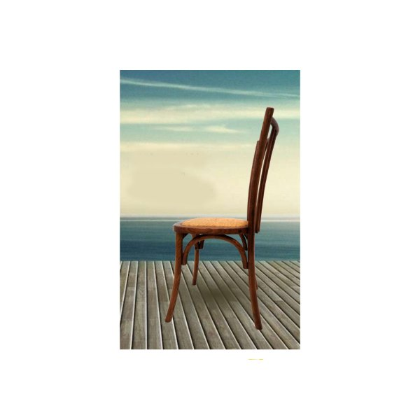 Cadeira Trendhouse Madeira Natural Carvalho Americano Escuro Assento Palha Trançada Ranch