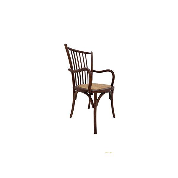 Cadeira Trendhouse Madeira Natural Carvalho Americano Escuro Braços Assento Palha Trançada Ranch