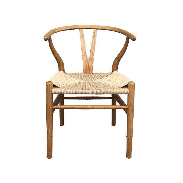Cadeira Trendhouse Madeira Natural Carvalho Castanho Claro Assento Fibra Natual GAVEA