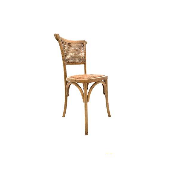 Cadeira Trendhouse Madeira Natural Carvalho Castanho Claro Encosto e Assento de Palha Trançada POSITANO