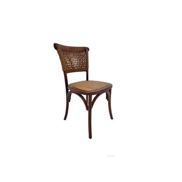 Cadeira Trendhouse Madeira Natural Carvalho Castanho Escuro Encosto Fibra Assento Palha Trançada Vegara