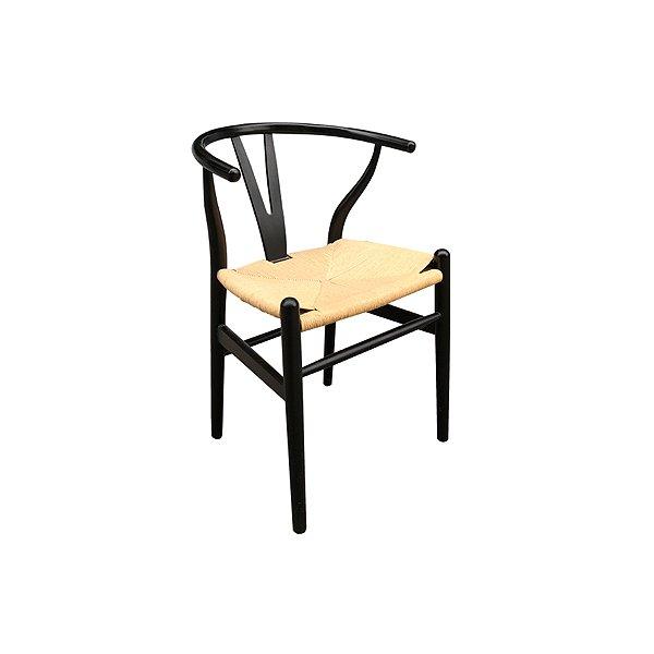 Cadeira Trendhouse Madeira Natural Carvalho Preto Assento Fibra Natual GAVEA