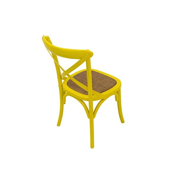 Cadeira Trendhouse Madeira Natural Cor Amarela Assento Palha Trançada Acabamento Laca
