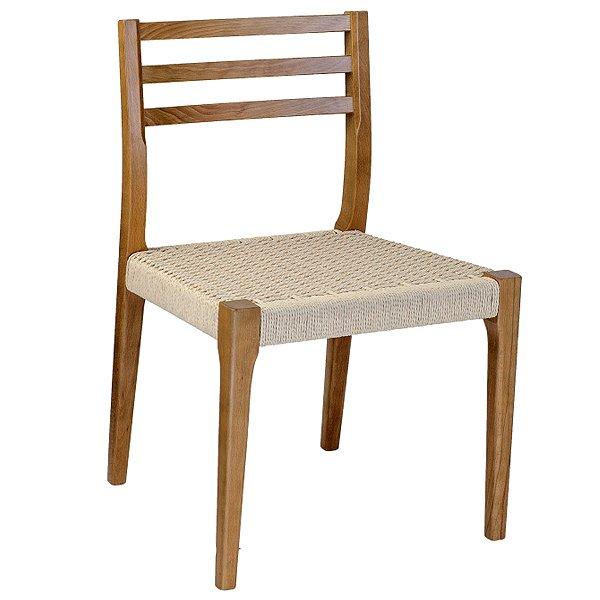 Cadeira Trendhouse Madeira Natural Olmo Castanho Assento Claro Fibra Natural Tramada Urca