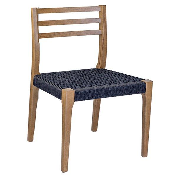 Cadeira Trendhouse Madeira Natural Olmo Castanho Assento Preto Fibra Natural Tramada Urca