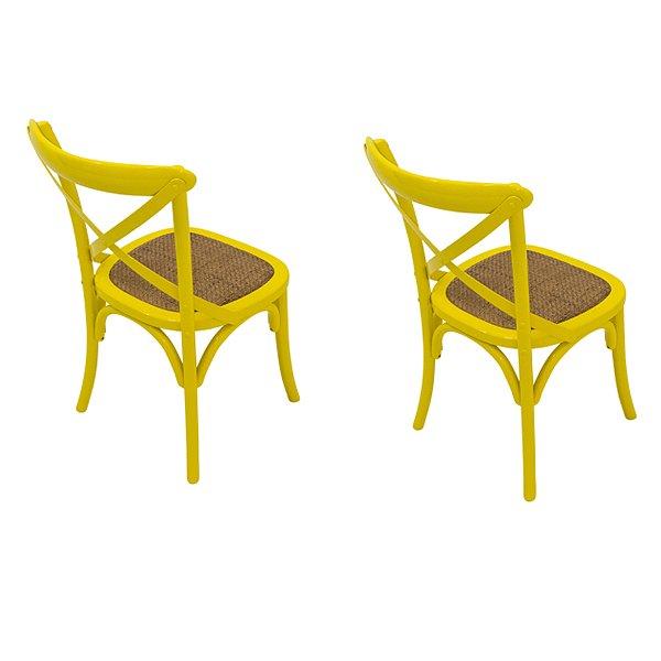 Kit 2 Cadeira Trendhouse Madeira Natural Cor Amarela Assento Palha Trançada Acabamento Laca