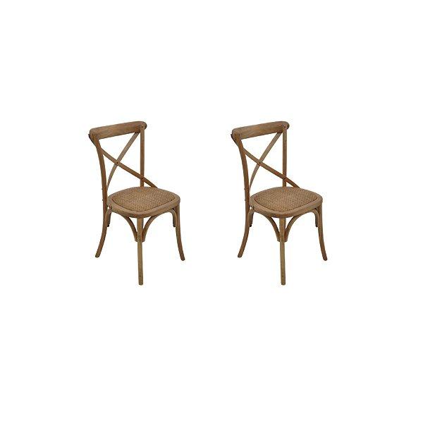 Kit 2 Cadeira Trendhouses Madeira Natural Bétula Cor Castanho Claro Assento Palha Trançada