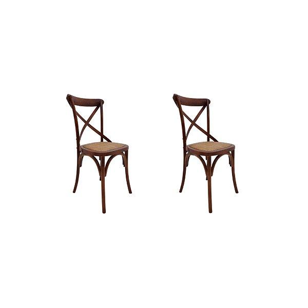 Kit 2 Cadeira Trendhouses Madeira Natural Bétula Cor Escuro Claro Assento Palha Trançada