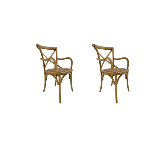 Kit 2 Cadeira Trendhouses Madeira Natural Carvalho Americano Braços Cor Claro Assento Palha Trançada