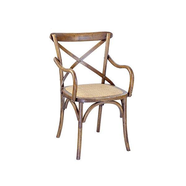 Kit 2 Cadeira Trendhouses Madeira Natural Carvalho Americano Braços Cor Escuro Assento Palha Trançada