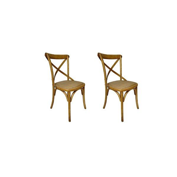 Kit 2 Cadeira Trendhouses Madeira Natural Carvalho Americano Cor Claro Assento Palha Trançada