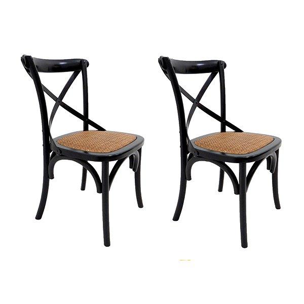 Kit 2 Cadeira Trendhouses Madeira Natural Cor Preto Assento Palha Trançada Acabamento Laca