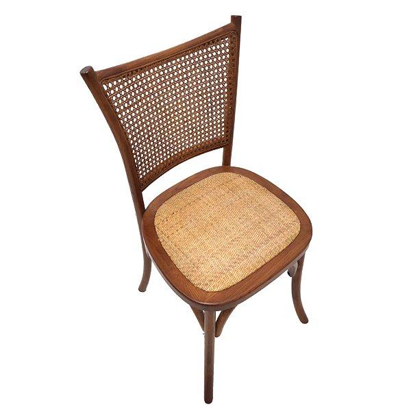 Kit 2x Cadeira Trendhouse Madeira Natural Carvalho Americano Castanho Escuro Assento Encosto Palha Natural