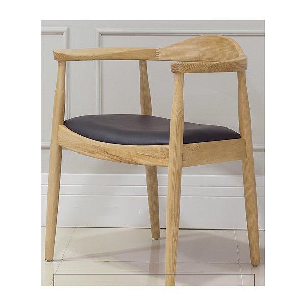 Kit 2x Poltrona Trendhouse Madeira Natural Carvalho Claro Americana Vintage The Chair Encosto Acento Couro Estofado FLAT