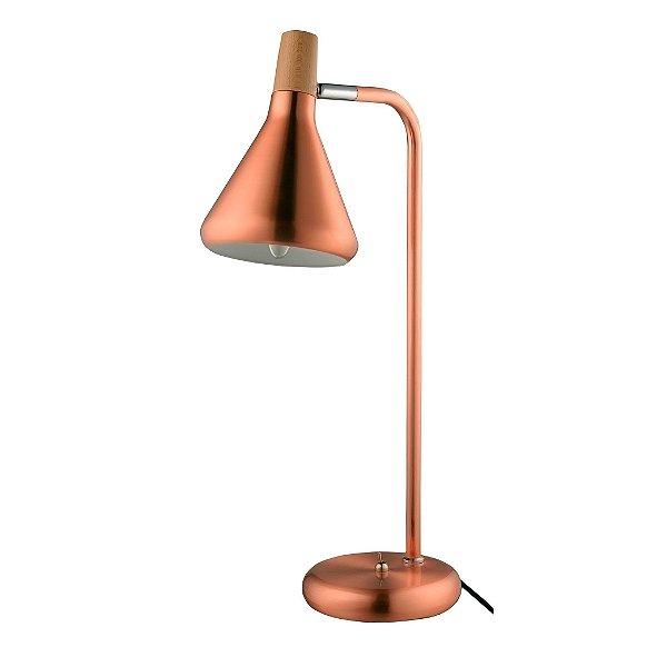 LUMINÁRIA MESA Quality Iluminação QLM1064-CO Articulada Cupula  Alumínio 1XG9 40W 12,5X49CM COBRE Sala Quarto Casal Mesas