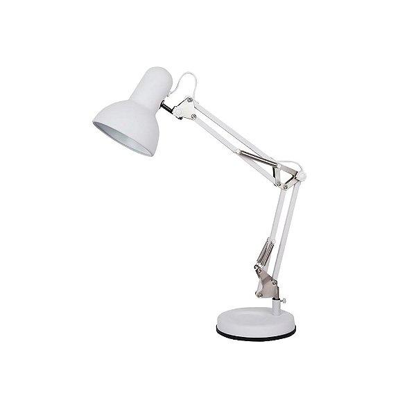 LUMINÁRIA MESA Quality Iluminação QLM1160-BR Articulada Cupula  Alumínio BRANCO 1XE27 40W 39X15X52CM Sala Quarto Casal Mesas