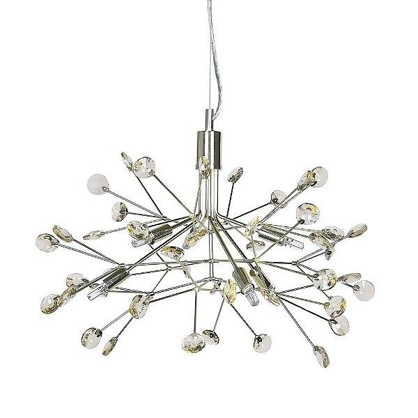 PENDENTE Newline Imports LT637-DO Moderno Alumínio Cristal K9 6XG9 LED 25W Ø88X60CM Sala de Jantar Quarto e Cozinha