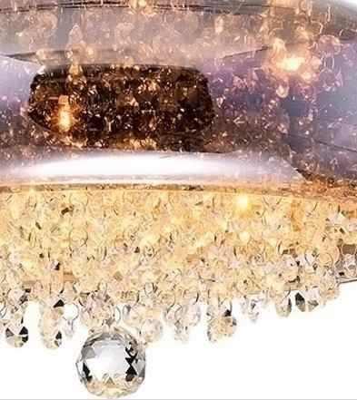 PENDENTE Newline Imports Alumínio PD1004-BZ Redondo Cristais Zara VIDRO Dourado 9XG9 40W Ø560X18CM Sala de Jantar Quarto e Cozinha