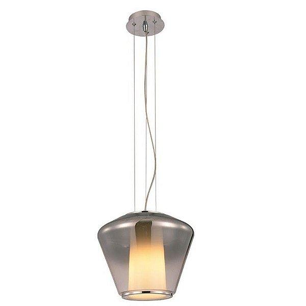 PENDENTE Newline Imports PD1049 Cupula Estilo Antigo Vertical Alumínio VIDRO 1XE27 40W 38X30CM Sala de Jantar Quarto e Cozinha