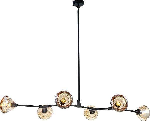 PENDENTE Newline Imports PD1176-CH Lustre Moderno Floral Braços Cupula VIDRO Champanhe 6XG9 25W 118X69X97CM Sala de Jantar Quarto e Cozinha