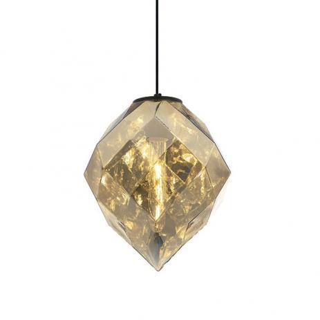 PENDENTE Newline Imports PD1189-DO Vertical Diamante Lapidado Vidro DOURADO 1XE27 40W 25X30CM Sala de Jantar Quarto e Cozinha
