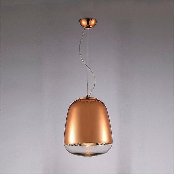 PENDENTE Newline Imports PD660 Vertical Alumínio E VIDRO Bronze 25X29CM 1XE27 40W Sala de Jantar Quarto e Cozinha
