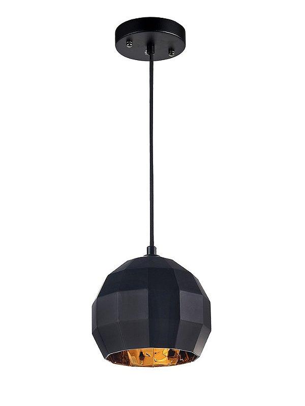 PENDENTE Newline Imports PD851-PT Esfera Geométrica Alumínio VIDRO PRETO E DOURADO Ø25X20CM Sala de Jantar Quarto e Cozinha
