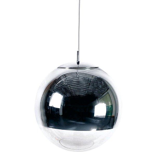 PENDENTE Newline Imports PD942 Alumínio Vertical Esfera Cromado VIDRO 1XE27 40W Ø40cm Sala de Jantar Quarto e Cozinha
