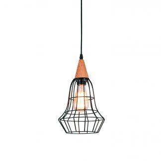 PENDENTE Quality Iluminação ID41086 Aramado Estilo Antigo Filamento Alumínio MADEIRA 1XE27 40W 17X27CM Sala de Jantar Quarto e Cozinha
