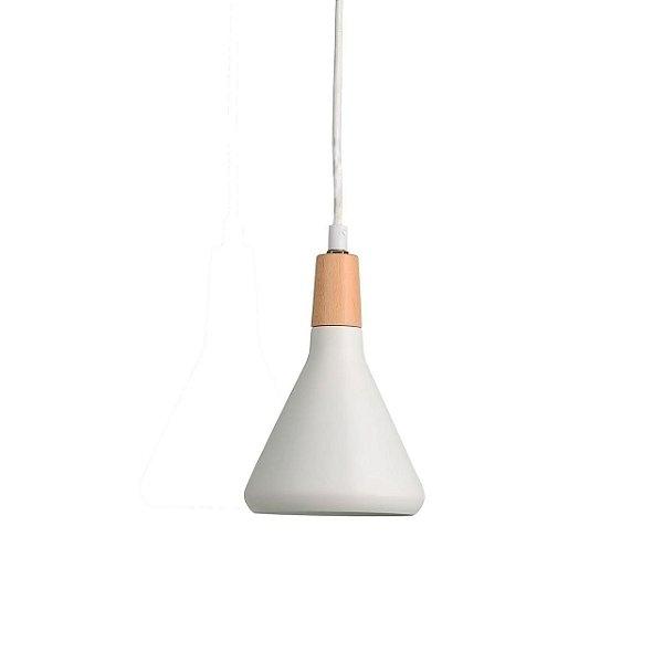 PENDENTE Quality Iluminação QPD1063-BR Triangular Sino Estilo Antigo MADEIRA BRANCO 1XG9 40W 12,5X19CM Sala de Jantar Quarto e Cozinha