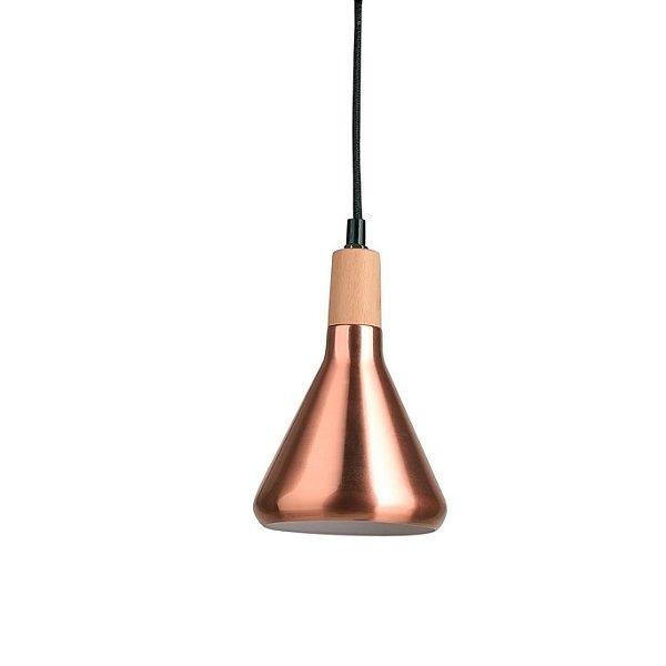 PENDENTE Quality Iluminação QPD1063-CO Triangular Sino Estilo Antigo MADEIRA COBRE 1XG9 40W 12,5X19CM Sala de Jantar Quarto e Cozinha
